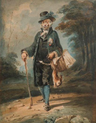 Nicolas Toussaint Charlet (1792 - 1845)  Braconneur Aquarelle Signée en bas à...