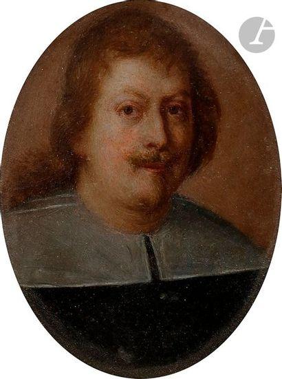 École ROMAINE vers 1640 Portrait d'homme  Cuivre ovale  5 x 4 cm Petits man...