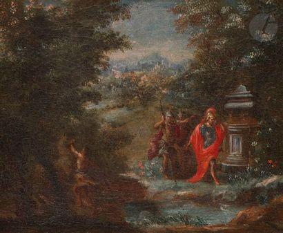 École FLAMANDE du XVIIe siècle,entourage de Geex de LAVALLEE Paysage animé de soldat...