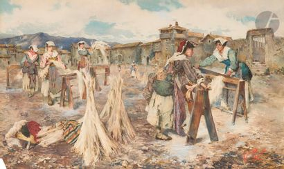 Domenico PENNACCHINI (1860 - 1910) Cardeuses...