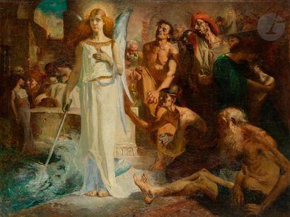 Georges CHARBONNEAU  (né à Nantes 1871) La Piscine de Betsaïda Toile  115 x...