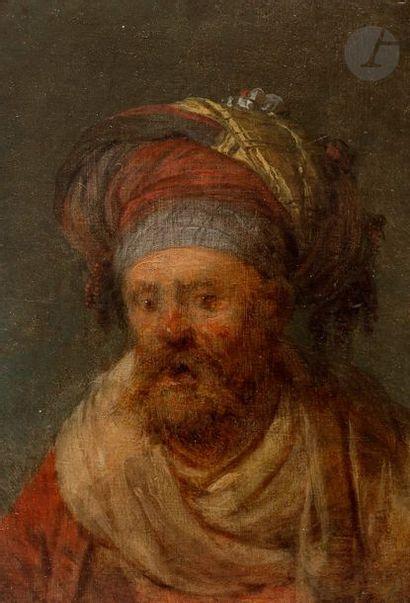 Attribué à Jean-Baptiste LEPRINCE  (1734 - 1781) Personnage barbu et enturbanné...