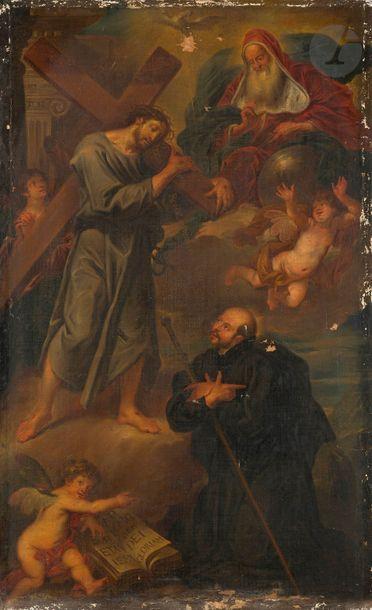 École MEXICAINE du XVIIIe siècle  Apparition du Christ à saint Ignace de Loyola Toile...