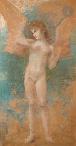 Jules Louis MACHARD (Sampans 1839 - Meudon 1900) Personnage ailé  Pastel  185...