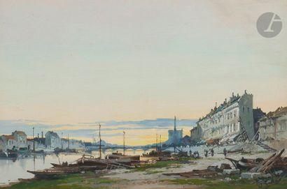 Eugène GALIEN-LALOUE (1854 - 1941)Bord de Seine, avec Notre-Dame en fond Gouache...