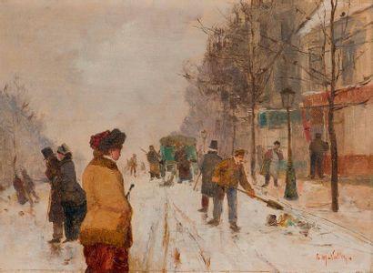 étienne Maxime VALLéE  (Vitteaux, actif au salon 1873 - 1881) Rue enneigée  Panneau...
