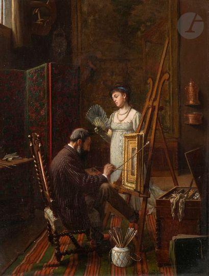 Edmond Georges GRANDJEAN (Paris 1844 - 1908) L'atelier du peintre  Panneau  42,5...