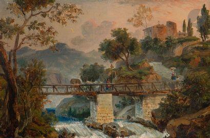 École FRANçAISE vers 1820,  entourage d'Achille Etna MICHALLON Paysage avec un...