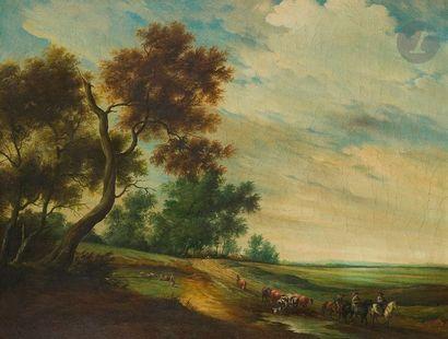École du XIXe siècle Paysage animé de bergères,...
