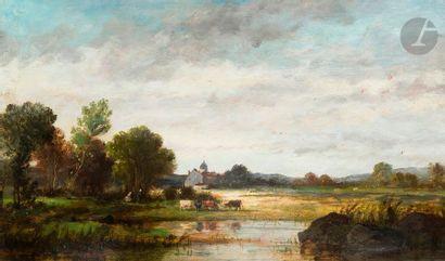 École française du XIXe siècle Vaches dans un paysage Carton 25 x 41 cm