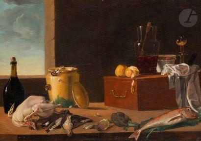 Attribué à Claude Joseph FRAICHOT (1732 - 1803) Nature morte aux pot vernissé,...