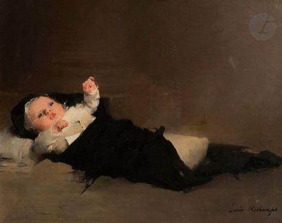 Louis DESCHAMPS (Montélimar 1842 - 1902) Nouveau-né...