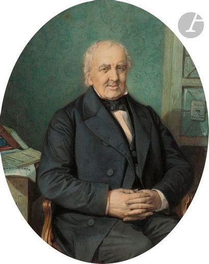 École française du XIXe siècle Portrait d'un mélomane Aquarelle en ovale 38 x...