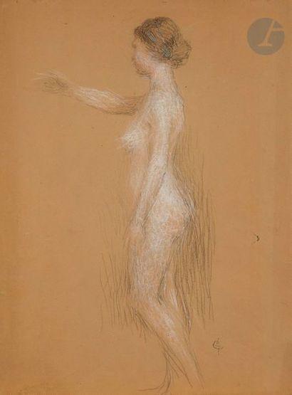 Ernest LAURENT (1859 - 1929)  étude de femme de profil  Pastel  50 x 38 cm  Cachet...