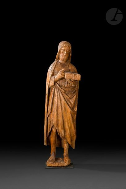 Saint Jean-Baptiste en chêne sculpté. Debout,...