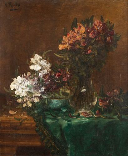 Alfred ROUBY (1849-1909) Fleurs Huile sur...
