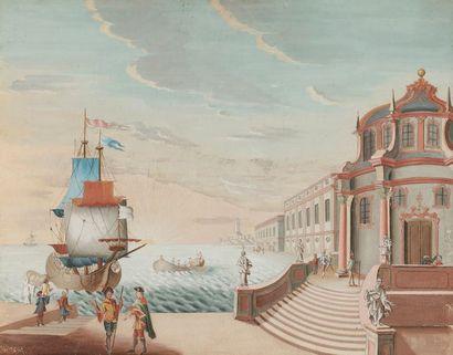 École de L'EST du XVIIIe siècle Vues de ports...