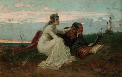 Paul CHENAVARD (Lyon 1807-Paris 1895) Couple...