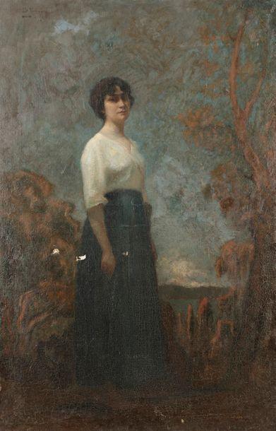 École FRANÇAISE vers 1880 Jeune dame devant...