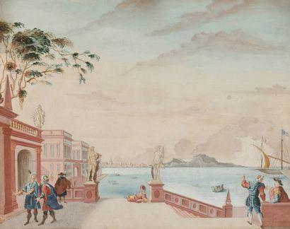 École de L'EST du XVIIIe siècle Vues de ports animés 4 gouaches. 16x21 chacun...
