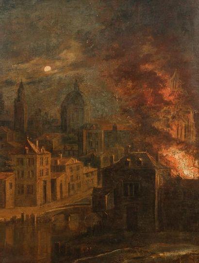 École ANGLAISE du XIXe siècle Incendie de...