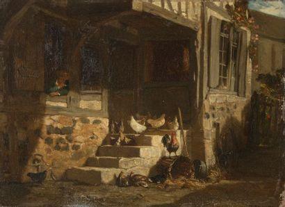 Philippe ROUSSEAU (1816-1887) Volailles devant...