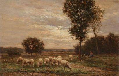 Jean-Ferdinand Chaigneau (1830-1906) Le troupeau...