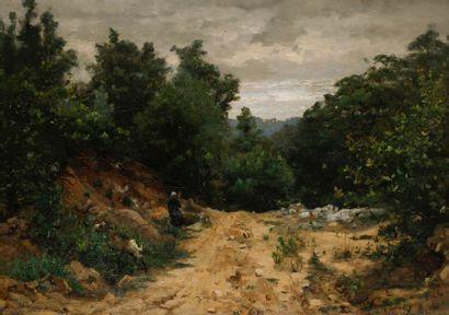 Adrien Demont (1851-1928) Sentier animé Toile....