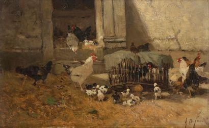 Alexandre DEFAUX (1826-1900) Poulailler Toile....