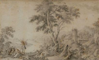École française du XVIIIe siècle Une paire de paysage fluvial animé Crayon noir,...
