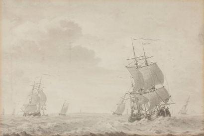 Cornelis de GRIENT (1691-1783) Marine Lavis...