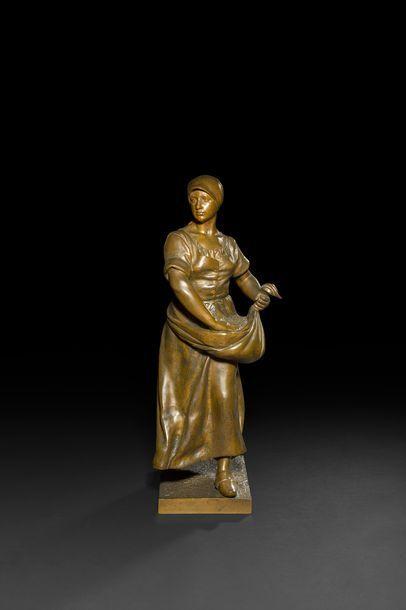 Antonin LARROUX (1859-1913) La Semeuse Bronze...