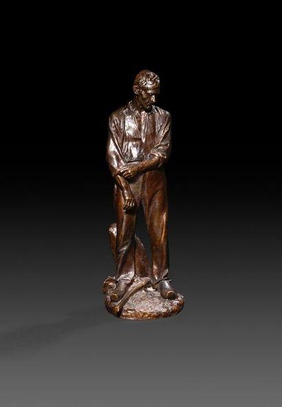 Aimé-Jules DALOU (1838-1902) Grand paysan...