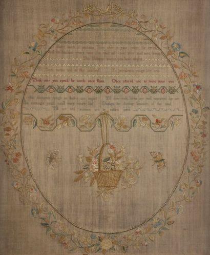 Abécédaire sur toile de lin daté 1798 Dans...