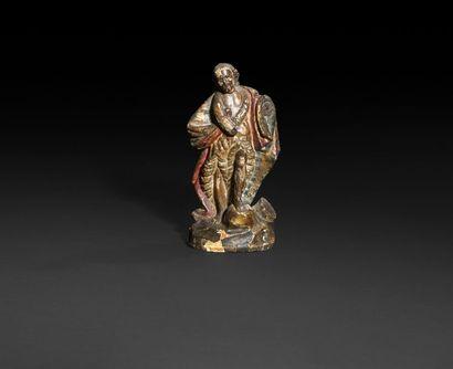 Saint Jean-Baptiste en bois sculpté, polychromé...