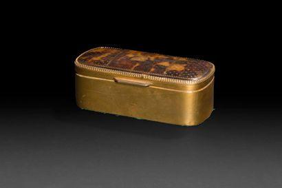 France, XIXe siècle Boîte oblongue en métal...