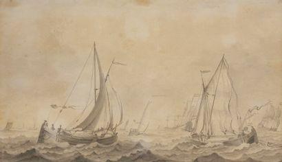 École HOLLANDAISE vers 1800 Marine Lavis...