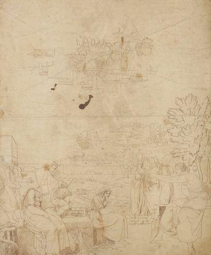 École néoclassique italienne Feuille d'étude recto-verso: paysage avec une citadelle;...