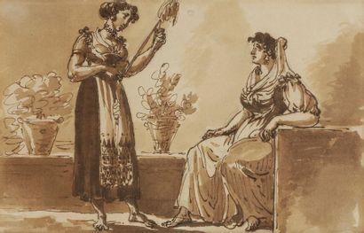 École ITALIENNE du XIXe siècle Scènes italiennes Plume et encre brune, lavis brun...