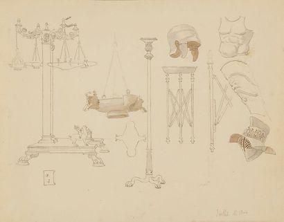 Eugène VIOLLET-LE-DUC (1814-1879) Ensemble de 42 feuilles de croquis comprenant...