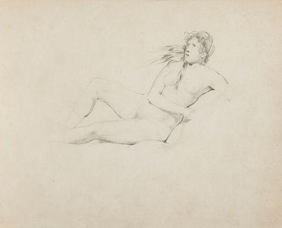 École FRANÇAISE du XIXe siècle Femme nue assise Crayon noir. Monogrammé au verso...