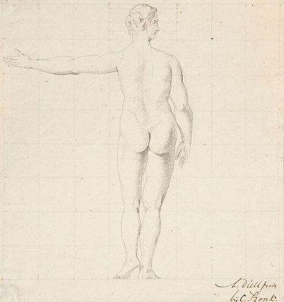 A. DÜLL Figures anatomiques 4 dessins, plume et encre noire, mise au carreau Tous...
