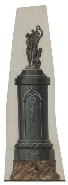 École ALLEMANDE du XIXe siècle 3 projets de colonnes pour sculpture Gouache aquarellée....