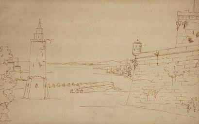 École FRANÇAISE du XIXe siècle Paysages d'architecture Lot de quatre dessins. 2...