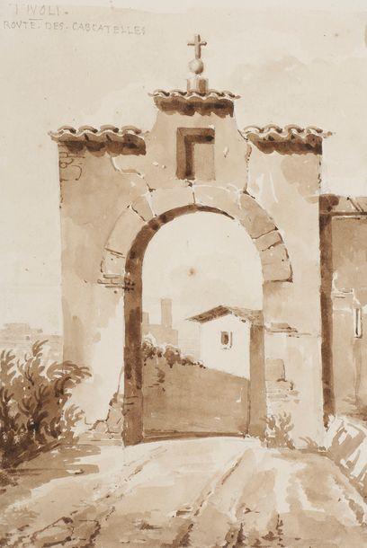 Louis BENOIS (1796-1873) Temple de la Fortune, Rome 1821 Crayon noir. 19,5x17cm...