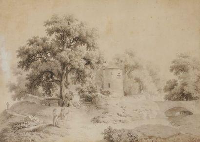 Adam TOEPFFER (1766-1847) Paysage animé au...