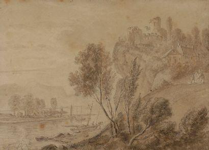 Daniel MELBYE (1818-1875) Paysage fluvial...