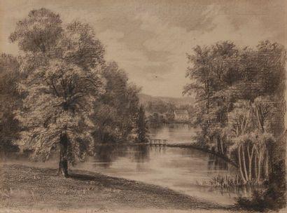 Maxime LALANNE (1827-1886) 5 paysages Fusain. Dimensions diverses.