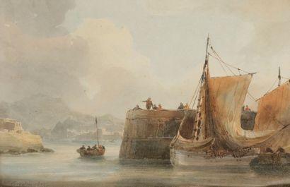 Théodore GUDIN (1802-1880) L'Entrée du port,...