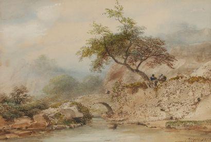 Eugène CICÉRI (1813-1890) Pont sur la rivière,...